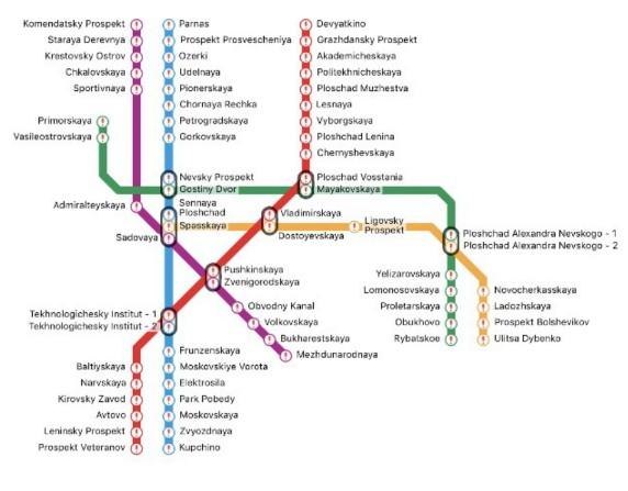 圣彼得堡地铁站全图(图撷自yandex)