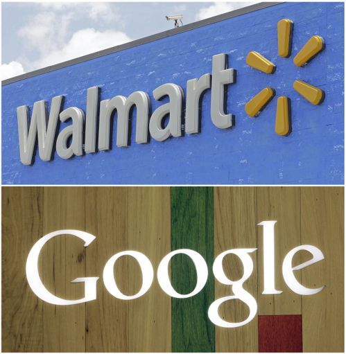 网路搜寻引擎谷歌(Google)和世界最大零售业者沃尔玛公司(Wal-Mart)将联手,以挑战亚马逊(Amazon)在线上购物日益成长的主导优势。(图 / 取自美联社)